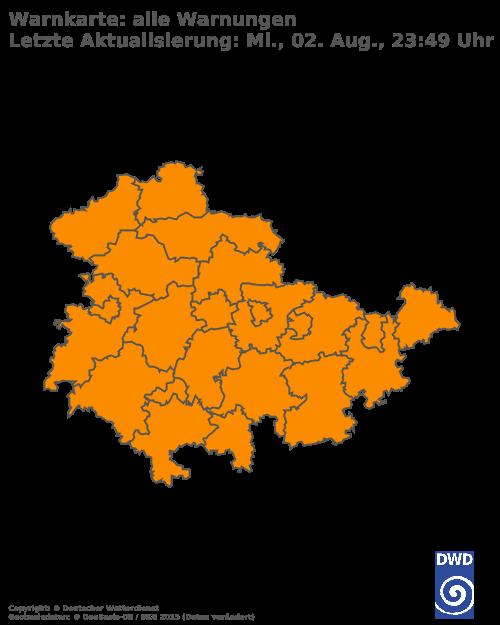 Aktuelle Wetterwarnungen für Wartburgkreis
